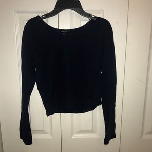 Navy blue long sleeve crop top